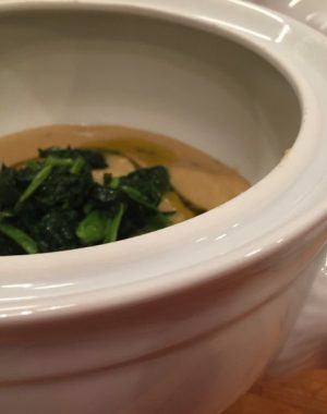 Zuppa di ceci (in scatola) e cime di rapa (congelate)